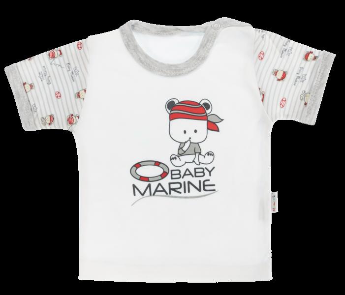 Bavlnené tričko Mamatti Pirát krátky rukáv - sivé, veľ. 92