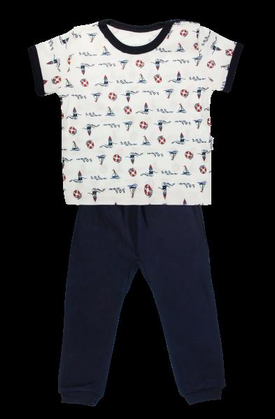Bavlnené pyžamko Mamatti Maják - krátký rukáv - granátové, veľ. 98