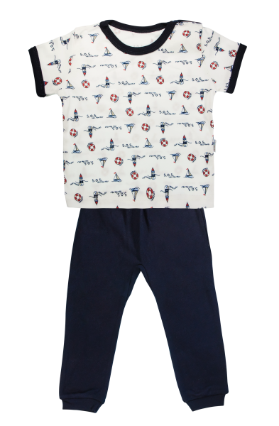 Bavlnené pyžamko Mamatti Maják - krátký rukáv - granátové, veľ. 104