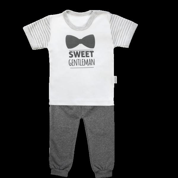 Bavlnené pyžamko Mamatti Gentleman - krátký rukáv - sivé, veľ. 86