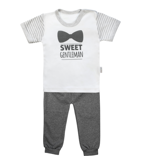 Bavlnené pyžamko Mamatti Gentleman - krátký rukáv - sivé, veľ. 104