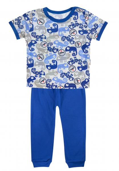 Bavlnené pyžamko Mamatti Chameleon - krátký rukáv - modré/sivé, veľ. 110