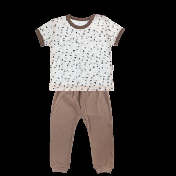 Bavlnené pyžamko Mamatti Tlapka - krátký rukáv - béžové/hnedé