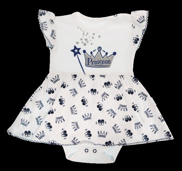 Bavlnené sukničkobody Mamatti Princezná - krátky rukáv - granátové-68 (4-6m)