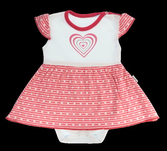 Bavlnené sukničkobody Mamatti Love Girl - krátky rukáv - červené-86 (12-18m)