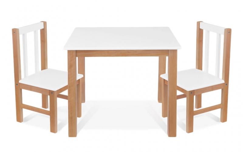 BABY NELLYS Detský nábytok - 3 ks, stôl s stoličkami - prírodná, biela, D/01