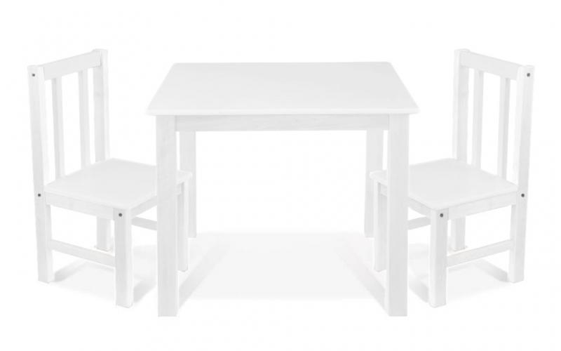 BABY NELLYS Detský nábytok - 3 ks, stôl s stoličkami - biela, D/02