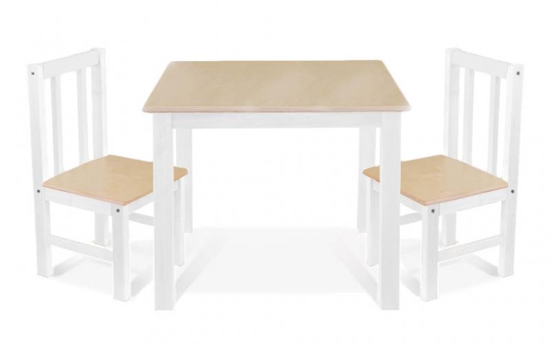 BABY NELLYS Detský nábytok - 3 ks, stôl s stoličkami - prirodna II., biela, D/03