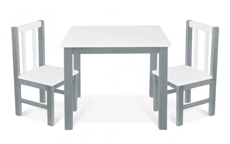BABY NELLYS Detský nábytok - 3 ks, stôl s stoličkami - siva, biela, D/04