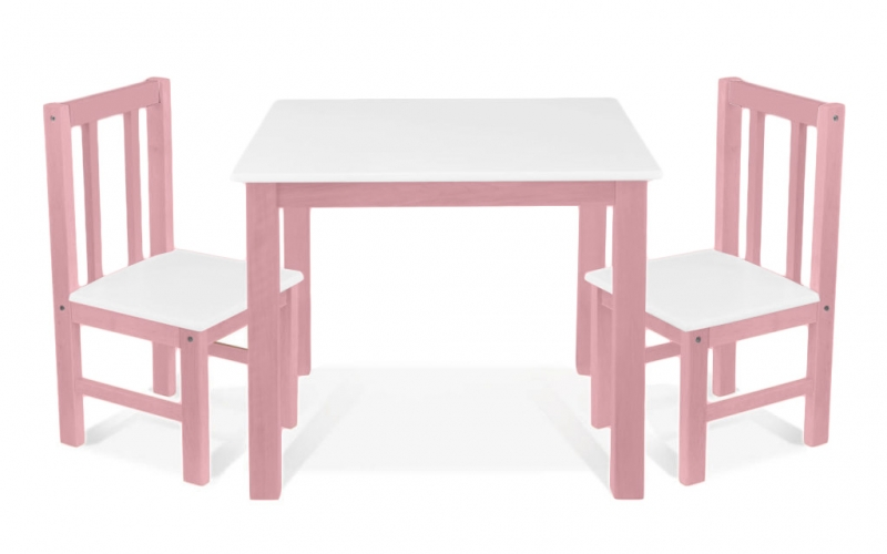 BABY NELLYS Detský nábytok - 3 ks, stôl s stoličkami - ruzova, biela, D/05