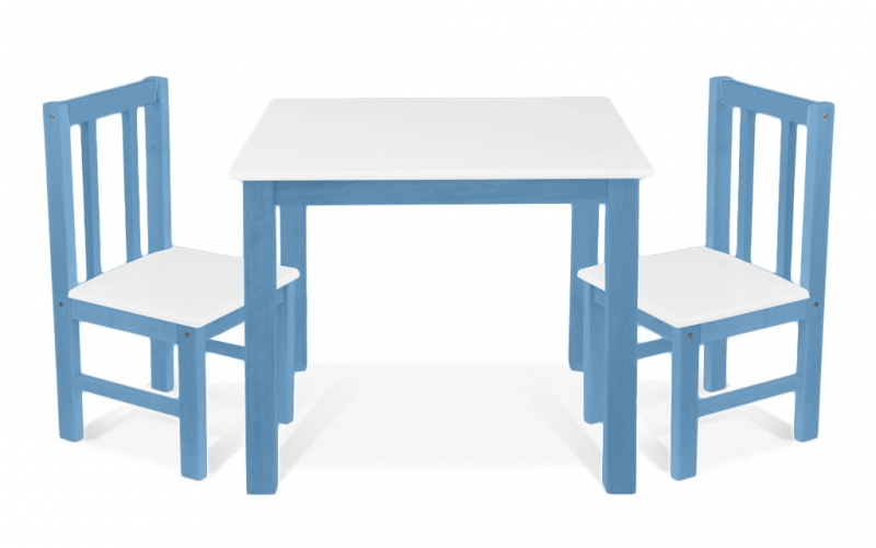 BABY NELLYS Detský nábytok - 3 ks, stôl s stoličkami - ruzova, biela, D/06