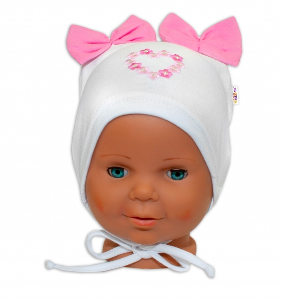 Bavlnená čiapočka na zaväzovanie Baby Nellys s mašličkami - biela, 44 - 48cm