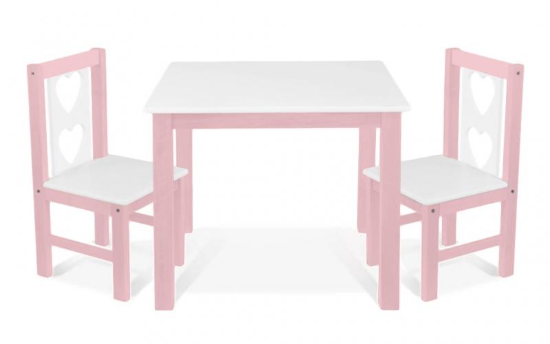 BABY NELLYS Detský nábytok - 3 ks, stôl s stoličkami - ružová, biela,B/01