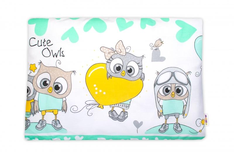 Baby Nellys Povlak na vankúšik Cute Owls, 40x60 cm - zelený