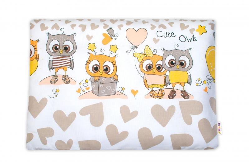 Baby Nellys Povlak na vankúšik Cute Owls, 40x60 cm - béžový