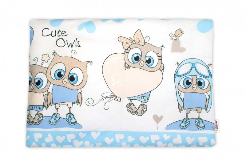 Baby Nellys Povlak na vankúšik Cute Owls, 40x60 cm - modrý