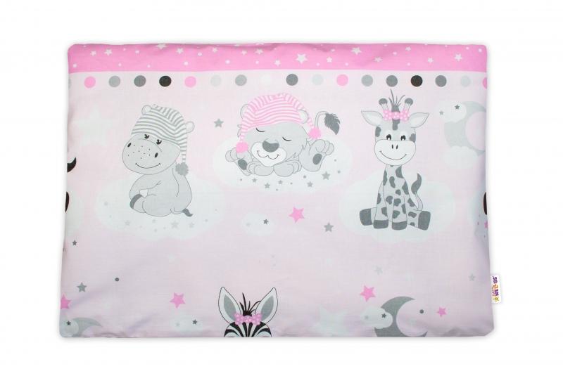 Baby Nellys Povlak na vankúšik Safari Baby, 40x60 cm - růžový
