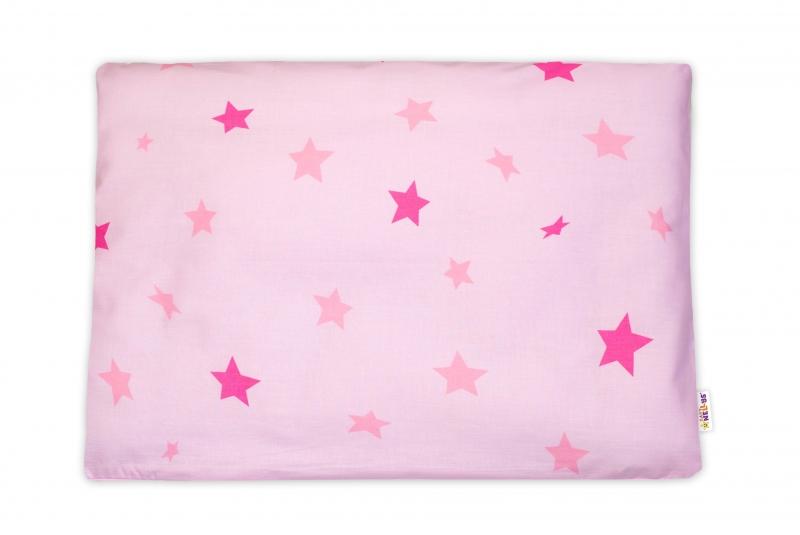 Baby Nellys Povlak na vankúšik Baby Stars, 40x60 cm - růžový
