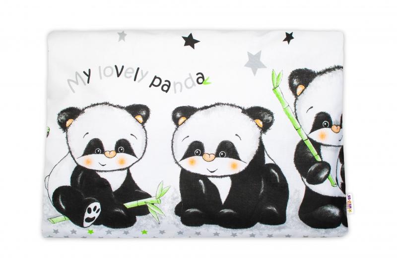 Baby Nellys Povlak na vankúšik Panda, 40x60 cm - biely