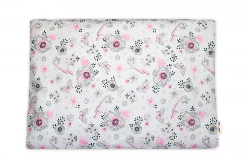 Baby Nellys Povlak na vankúšik Vtáčiky, 40x60 cm - růžový