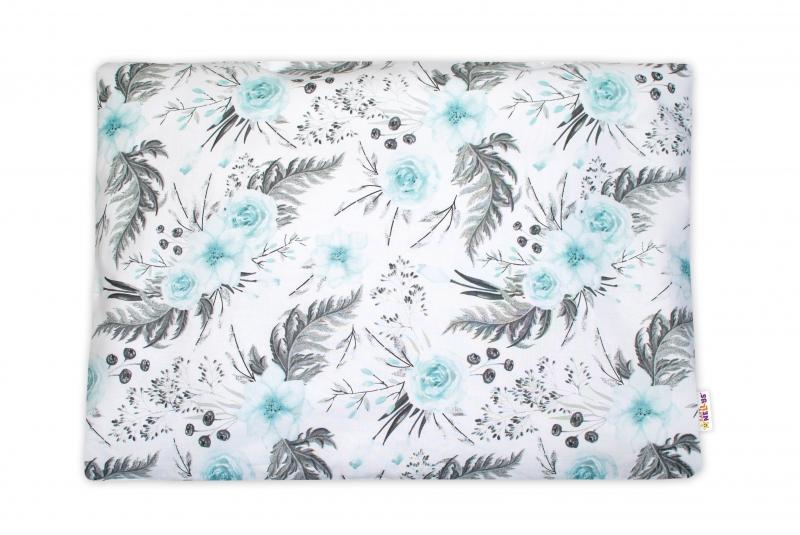 Baby Nellys Povlak na vankúšik Flowers, 40x60 cm - mätový