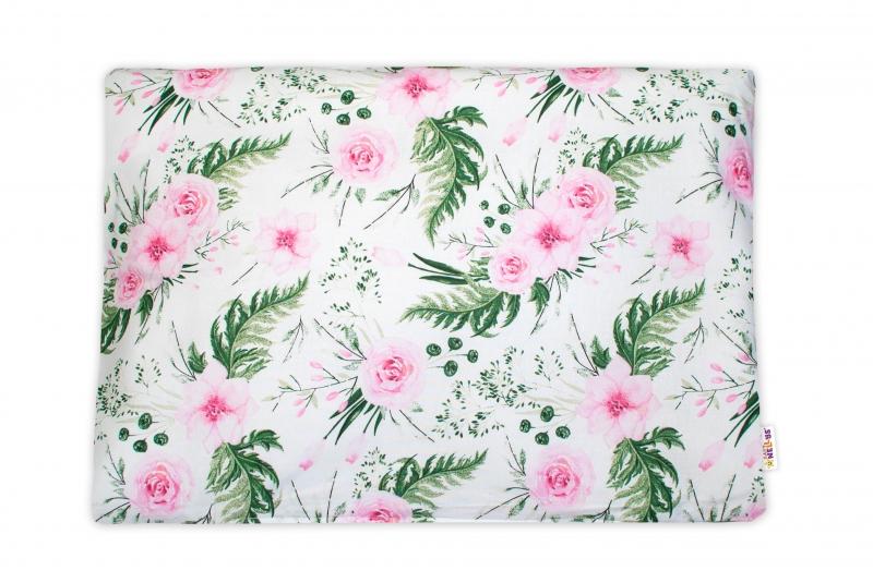 Baby Nellys Povlak na vankúšik Flowers, 40x60 cm - růžový