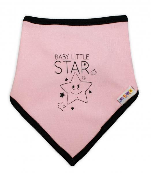 Detský bavlnený šatka na krk Baby Nellys, Baby Little Star - ružový