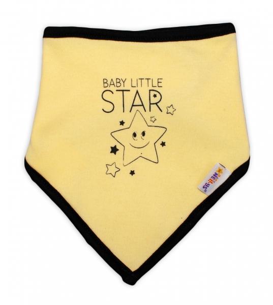 Detský bavlnený šatka na krk Baby Nellys, Baby Little Star - žltý