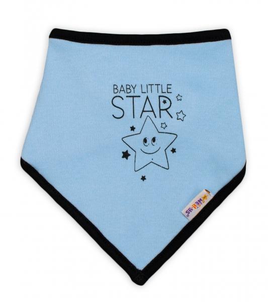 Detský bavlnený šatka na krk Baby Nellys, Baby Little Star - modrý