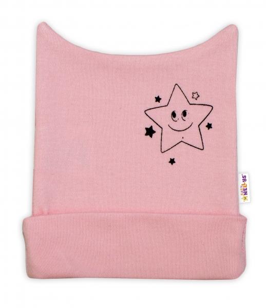 Novorodenecká čiapočka Baby Nellys, Baby Little Star - ružová, veľ. 62-62 (2-3m)