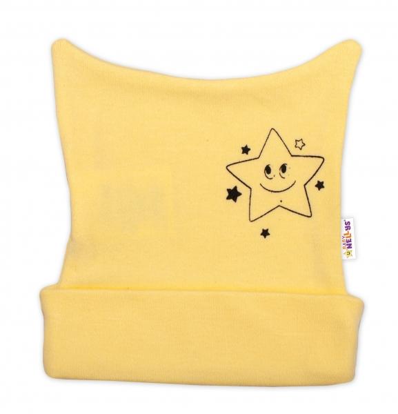 Novorodenecká čiapočka Baby Nellys, Baby Little Star - žltá, veľ. 62-62 (2-3m)