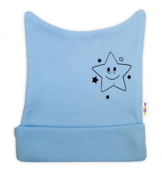 Novorodenecká čiapočka Baby Nellys, Baby Little Star - modrá, veľ. 62