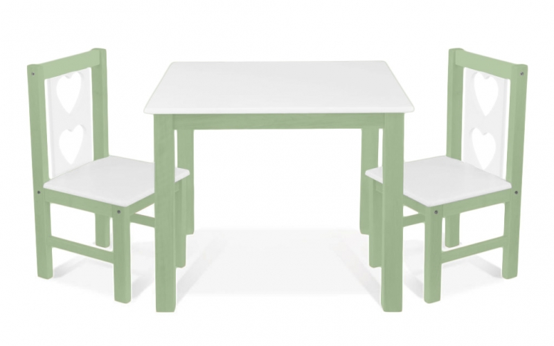 BABY NELLYS Detský nábytok - 3 ks, stôl s stoličkami - zelená, biela,B/04