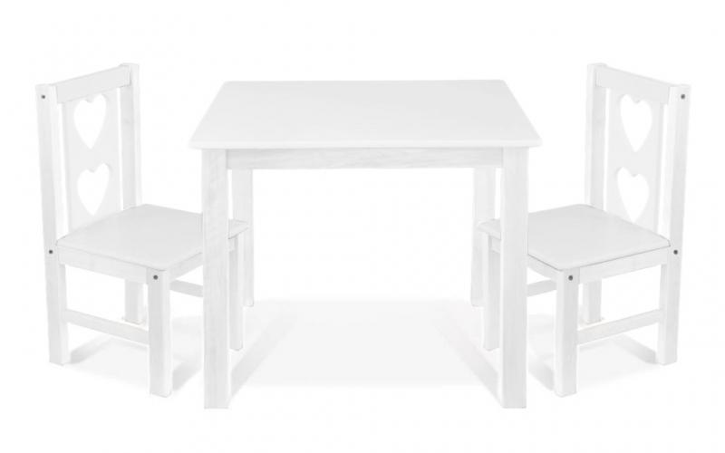 BABY NELLYS Detský nábytok - 3 ks, stôl s stoličkami - biela, B/07