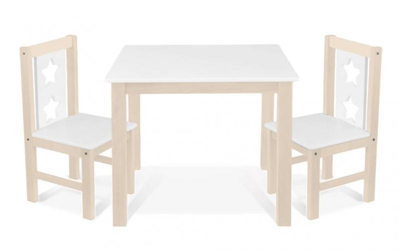 BABY NELLYS Detský nábytok - 3 ks, stôl s stoličkami - prírodná lll., biela, C/03