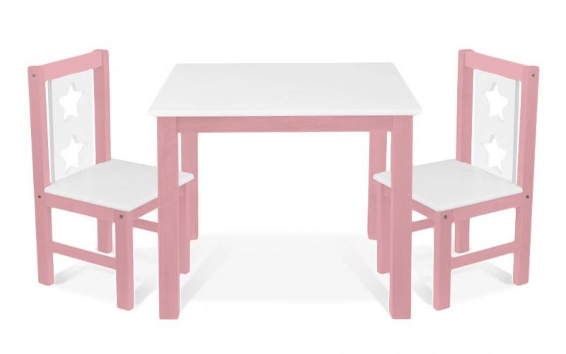 BABY NELLYS Detský nábytok - 3 ks, stôl s stoličkami - ružová, biela, C/01