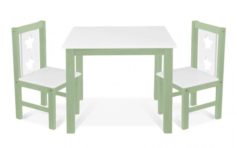 BABY NELLYS Detský nábytok - 3 ks, stôl s stoličkami - zelená, biela, C/04