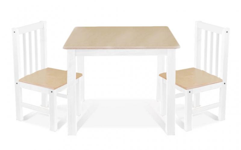BABY NELLYS Detský nábytok - 3 ks, stôl s stoličkami - prírodná ll., biela, A/03