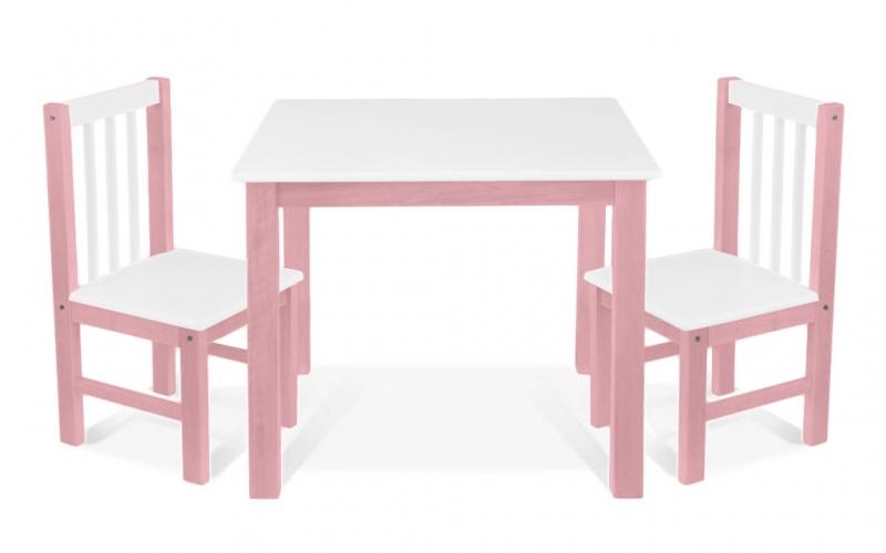 BABY NELLYS Detský nábytok - 3 ks, stôl s stoličkami - růžová, biela, A/07