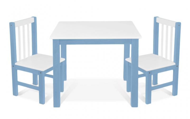 BABY NELLYS Detský nábytok - 3 ks, stôl s stoličkami - modrá, biela, A/08