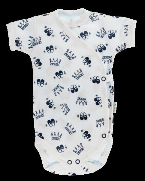 Dojčenské body Mamatti krátky rukáv zapínanie bokom Princezná - biele/granát