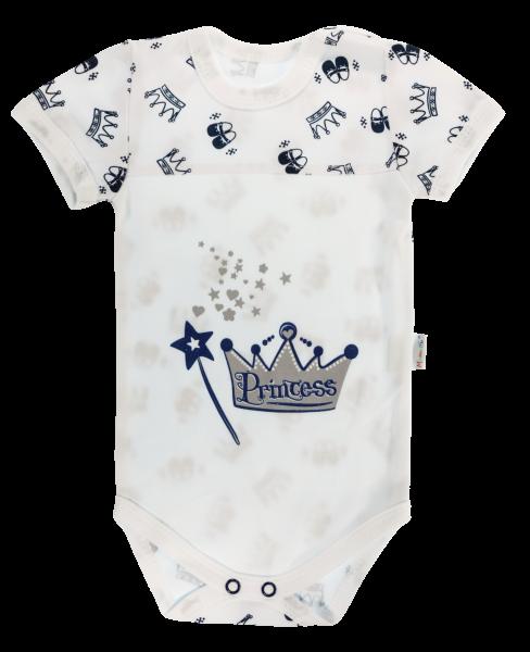 Dojčenské body Mamatti krátky rukáv Princezná - biele, veľ. 86