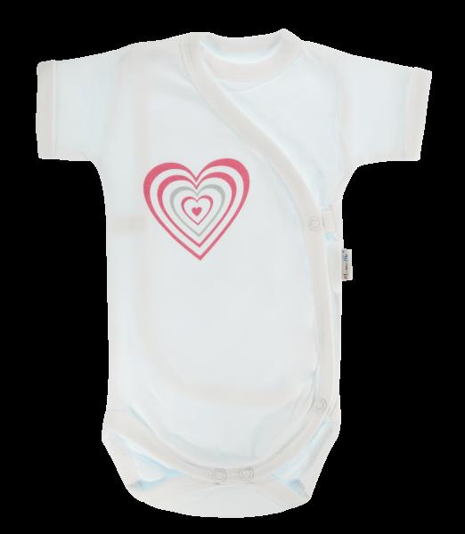 Dojčenské body Mamatti krátky rukáv zapínanie bokom Love Girl - bílé