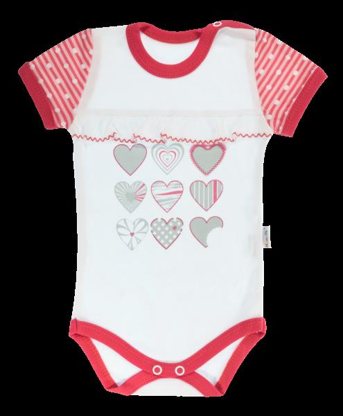 Dojčenské body Mamatti krátky rukáv Love Girl - biele,-68 (4-6m)