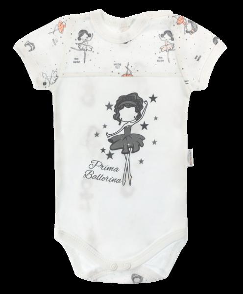 Dojčenské body Mamatti krátky rukáv Baletka - biele