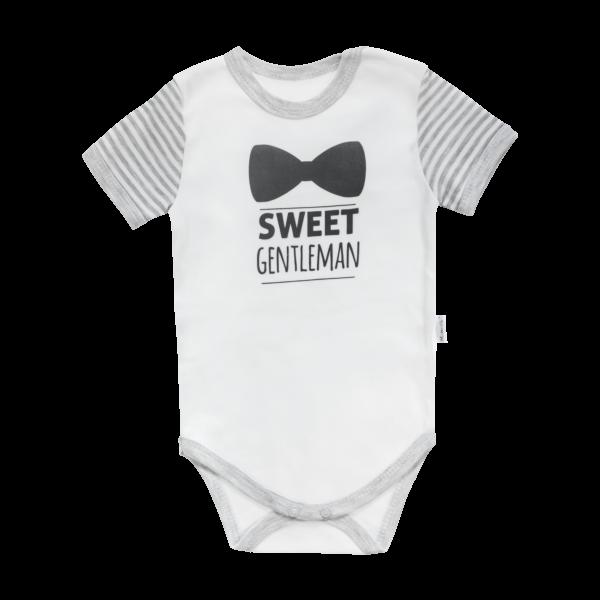 Dojčenské body Mamatti krátky rukáv Gentleman - sivé