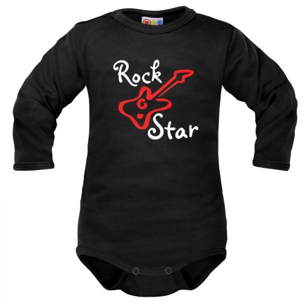 Body dlhý rukáv Dejna Rock Star - čierne, veľ. 80