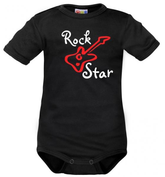 Body krátký rukáv Dejna Rock Star - černé, veľ. 68-68 (4-6m)