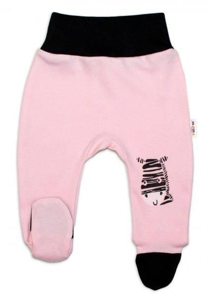 Baby Nellys Dojčenské polodupačky, ružové - Zebra, veľ. 80