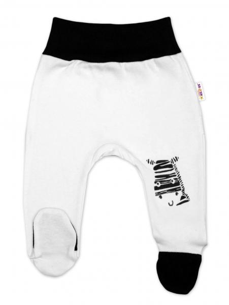 Baby Nellys Dojčenské polodupačky, biele - Zebra